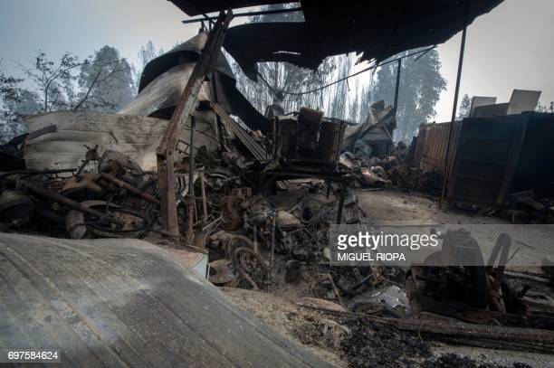 TOPSHOT A picture taken on June 19 2017 shows wreckage of a garage in an area devastated by a wildfire close to the village of Figueiro dos Vinhos...
