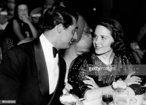 Picture taken on June 1936 at Hollywood showing US actor Cary Grant and actress Mary Brian during a visit to the Coconut Grove