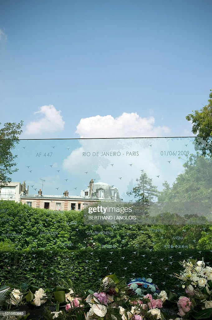 A picture taken on June 2, 2010 at the Pere Lachaise cemetery in Paris shows a funerary stela in tribute to the victims of the Air France Flight 447 Rio-Paris plane crash. The Airbus 330 crashed in a storm on its way from Rio de Janeiro to Paris on June 1, 2009 killing all 228 people on board -- the worst disaster in Air France's 75-year history. Many relatives of victims allege that the French Aviation Investigation and Analysis Bureau (BEA), Airbus and Air France are dragging out the inquiry to avoid admitting that the disaster was caused by a known problem with the jet's air speed monitors.