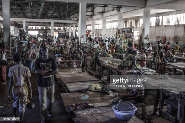 A picture taken on June 2 2018 shows Bimbo's big market one of Bangui's big bushmeat suppliers Most of the animals reservoir of the Ebola virus come...