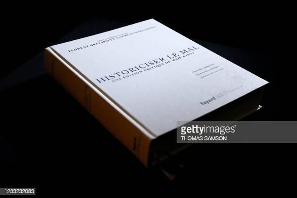"""Picture taken on June 2, 2021 in Paris, shows the new French edition of Adolf Hitler's """"Mein Kampf"""", """"Historicising Evil, A Critical Edition of Mein..."""