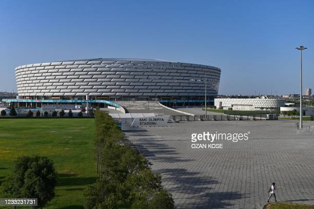 Picture taken on June 2, 2021 shows a general view of the Olympic Stadium in Baku. - The 68,000-seater stadium will host three UEFA EURO 2020 group...