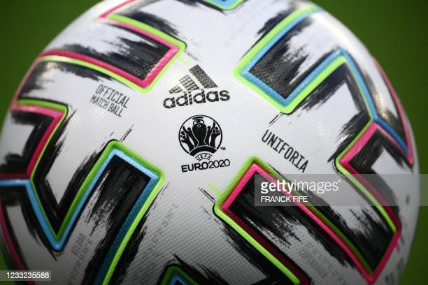 """Picture taken on June 2, 2021 shows EURO 2020 official match ball """"Uniforia"""" before the friendly football match between France and Wales at the..."""