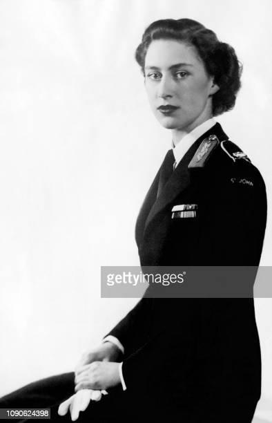 Picture taken on June 21 1949 showing Princess Margaret in uniform as Commandantinchief of StJohn Ambulance Brigade Cadets
