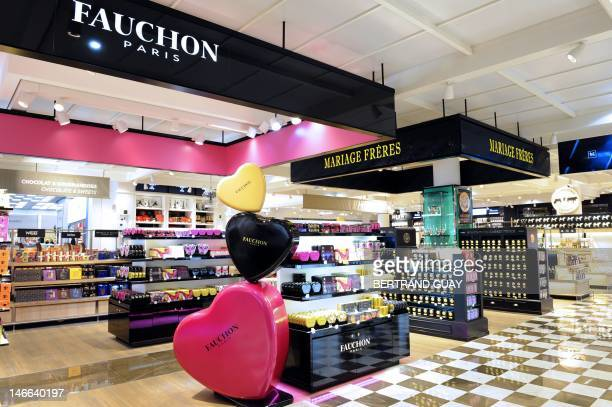 A picture taken on June 21 2012 at RoissyCharlesdeGaulle airport in RoissyenFrance northern Paris shows a Fauchon luxury delicatessen store at the...