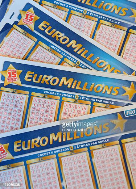 A picture taken on June 21 2013 shows Euro Millions lottery tickets in Lille northern France No player discovered the seven correct numbers needed to...
