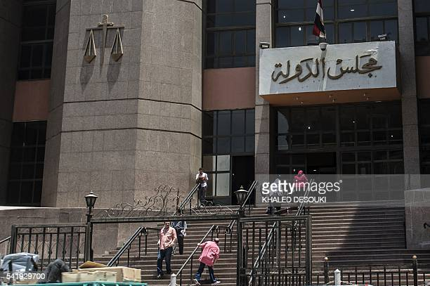 A picture taken on June 21 2016 shows the entrance of the State Council's building Egypt's highest administrative court in Cairo The Egyptian State...