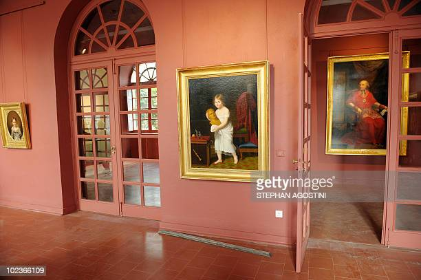 Picture taken on June 22, 2010 shows a Napoleon paintings collection room at Ajaccio Fesch Palace on the French Mediterranean island of Corsica....