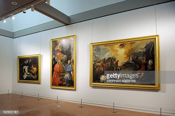 Picture taken on June 22, 2010 shows a room presenting Italian Renaissance paintings at Ajaccio Fesch Palace on the French Mediterranean island of...