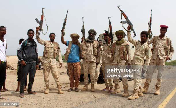 A picture taken on June 22 2018 shows Sudanese soldiers fighting alongside Yemen's Saudibacked progovernment forces against the Huthi rebels as they...