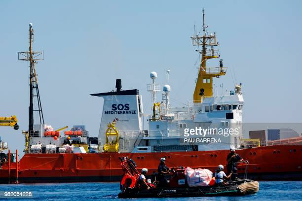 A picture taken on June 23 2018 shows Aquarius rescue vessel chartered by French NGO SOSMediterranee and Doctors Without Borders during a rescue...