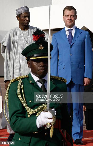 Picture taken on June 24 2009 shows Russian President Dmitry Medvedev at his welcoming ceremont with Nigerian President Usman Musa Yar'Adua in Abuja...