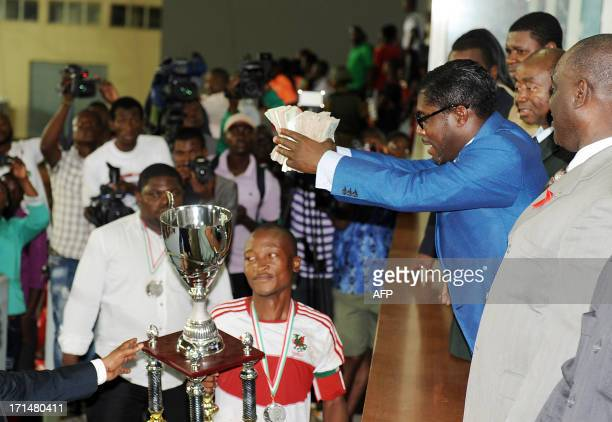A picture taken on June 24 2013 shows Teodorin Nguema Obiang the son of Equatorial Guinea's president Teodoro Obiang and the country's vicepresident...