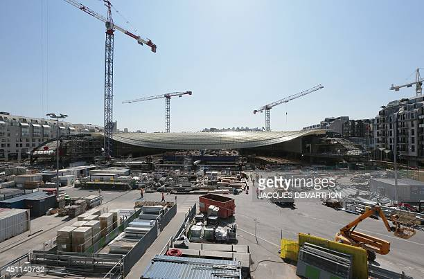 A picture taken on June 24 2014 shows the construction site at the Forum des Halles shopping centre undergoing renovation in central Paris AFP PHOTO...
