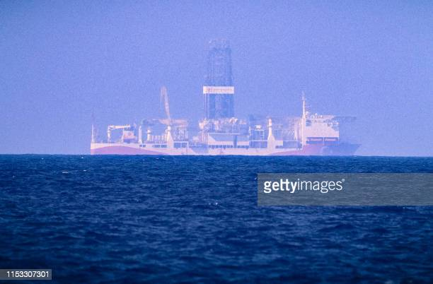 Picture taken on June 24, 2019 in the Mediterranean Sea off Cyprus approximately 20 nautical miles north-west of Paphos shows the drilling vessel...