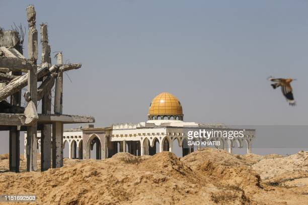 TOPSHOT A picture taken on June 24 2019 shows the destroyed and deserted terminal of the Gaza Strip's former Yasser Arafat International Airport in...