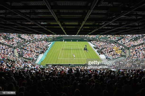 A picture taken on June 26 2012 of a view of Court 1 during the first round men's singles match between France's JoWilfried Tsonga and Australia's...