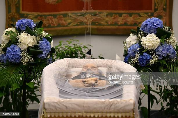 A picture taken on June 29 2016 shows the coffin of Italian actor Bud Spencer lying in repose at Rome's city hall Bud Spencer who starred in a string...
