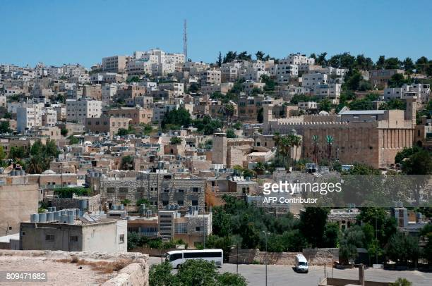 A picture taken on June 29 2017 shows a view of the Cave of the Patriarchs also known as the Ibrahimi Mosque which is a holy shrine for Jews and...