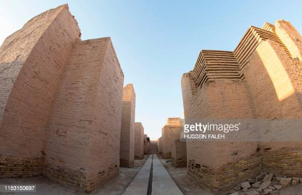 A picture taken on June 29 2019 shows a view of the Ishtar Gate at the ancient archaeological site of Babylon south of the Iraqi capital Baghdad...