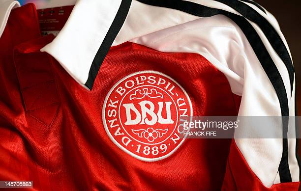 Picture taken on June 3, 2012 in Paris, shows the jersey of the Danish football federation. AFP PHOTO / FRANCK FIFE