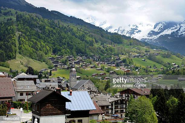 Picture taken on June 3, 2013 shows the village of Le Grand Bornand in the French Alps. AFP PHOTO / JEAN-PIERRE CLATOT