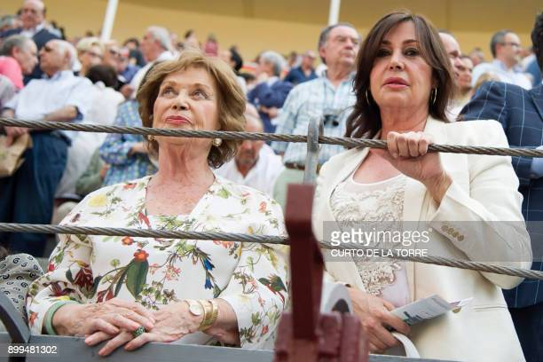 A picture taken on June 3 2015 shows Carmen Franco daughter of Spanish dictator Francisco Franco and her daughter Carmen Martinez Bordiu attending...