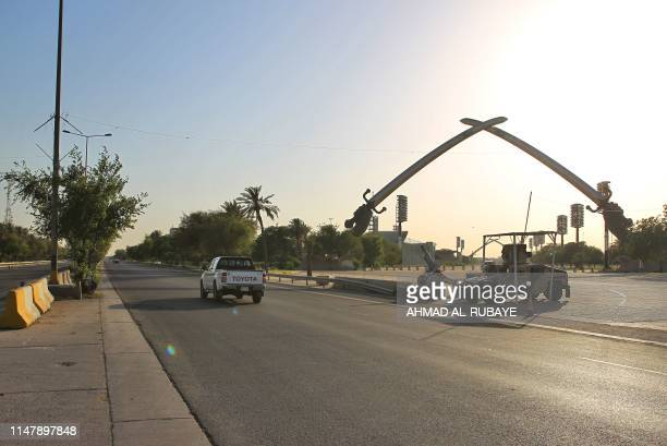 A picture taken on June 3 2019 shows the Victory Arch known as the Swords of Qadisiyah to mark Iraq's war against Iran in Baghdad's highsecurity...
