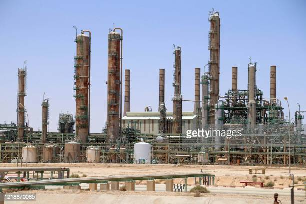 Picture taken on June 3, 2020 shows an oil refinery in Libya's northern town of Ras Lanuf. - Libya's National Oil Company said Monday it had...