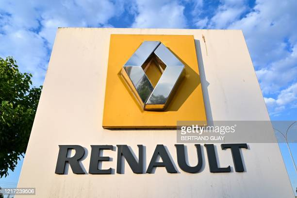 Picture taken on June 3, 2020 shows the Renault logo at the entrance of the plant of French carmaker in Choisy-le-Roi, near Paris, during a protest...