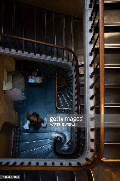 A picture taken on June 30 2017 shows the stairs of the Direction Regionale de Police Judiciaire de Paris also known by its address the '36 quai des...