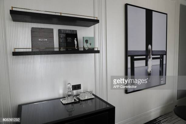 A picture taken on June 30 2017 shows the suite 'Choupette' decorated by German fashion designer Karl Lagerfeld at the Hotel de Crillon in Paris The...