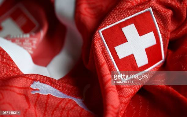 A picture taken on June 4 2018 in Paris shows the jersey of the Switzerland national football team for the FIFA 2018 World Cup in Russia