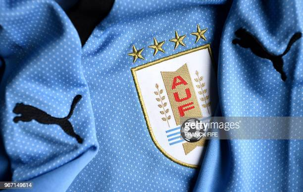 A picture taken on June 4 2018 in Paris shows the jersey of Uruguay national football team for the FIFA 2018 World Cup in Russia