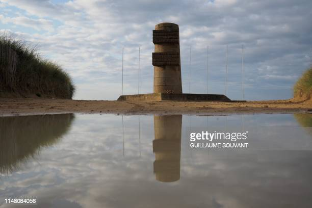 Picture taken on June 4, 2019 shows a memorial monument on Juno Beach, in Courseulles sur Mer, prior to the celebrations marking the 75th anniversary...
