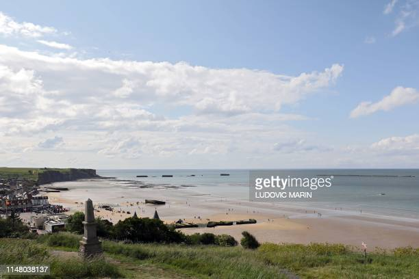 A picture taken on June 4 2019 shows the beach of ArromancheslesBains also known as Gold beach two days ahead of celebrations marking the 75th...