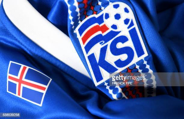 A picture taken on June 6 2016 in Paris shows the jersey of the national football team of Iceland prior to the UEFA Euro 2016 European football...