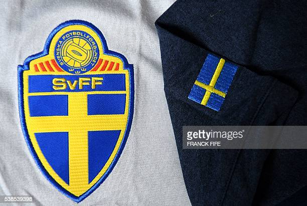A picture taken on June 6 2016 in Paris shows the jersey of the national football team of Sweden prior to the UEFA Euro 2016 European football...