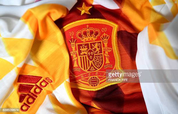 Picture taken on June 6, 2016 in Paris shows the jersey of the national football team of Spain prior to the UEFA Euro 2016 European football...