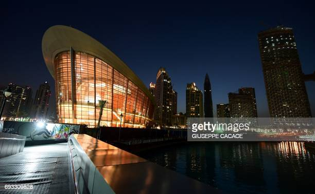 A picture taken on June 6 2017 shows a general view of the exterior of the Dubai Opera in downtown Dubai in the United Arab Emirates / AFP PHOTO /...
