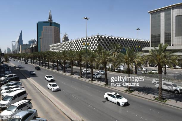 A picture taken on June 6 2017 shows a general view of the King Fahad street in the Saudi capital Riyadh Arab nations including Saudi Arabia and...