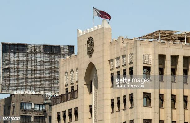 A picture taken on June 6 2017 shows the Qatari embassy in the Egyptian capital Cairo Egypt said it will suspend air links with Qatar from after it...