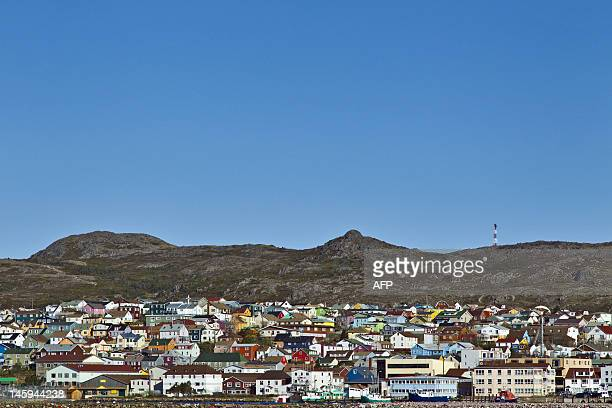 A picture taken on June 7 2012 shows a general view in SaintPierre in the French northern Atlantic island of SaintPierreetMiquelon on the eve of the...