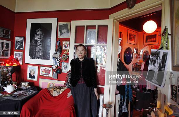 IRINA IONESCO FROM EROTICA TO FASHION AT 74 Picture taken on June 9 2010 in Paris of photograph Irina Ionesco posing at her appartment Gothic icon...