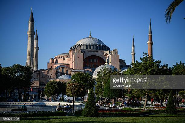 A picture taken on June 9 2016 shows Hagia Sofia Mosque in the historical district of Istanbul Turkey has suffered a spate of bombings this year...