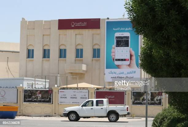 A picture taken on June 9 2017 shows a general view of the Qatar Charity building in the capital Doha Saudi Arabia Egypt the UAE and Bahrain...