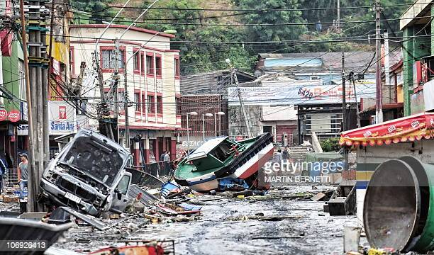 Picture taken on March 1 2010 showing the massive destruction caused by a tsunami in the Chilean city of Talcahuano three day after a huge...