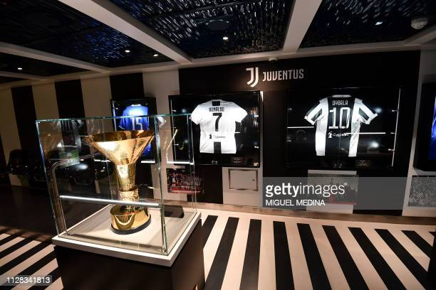 A picture taken on March 1 2019 on the port of Trieste inside the Costa Venezia cruise shows the Juventus museum A pioneer in China the Costa Cruises...