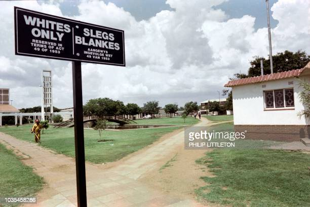 Picture taken on March 1 of a sign saying 'Whites only / Slegs Blankes' in the empty mining town of Carletonville due to the black consumer protest...