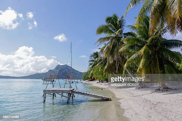 A picture taken on March 11 2015 shows a lagoon on the Maupiti island In 2010 the mayor of a French Polynesia atoll worried by the rising water asked...
